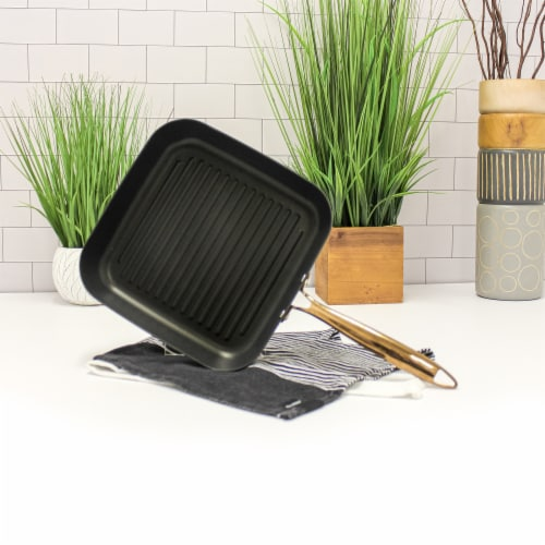 BergHOFF Hard Anodized Grill Pan - Black/Rose Gold Perspective: back