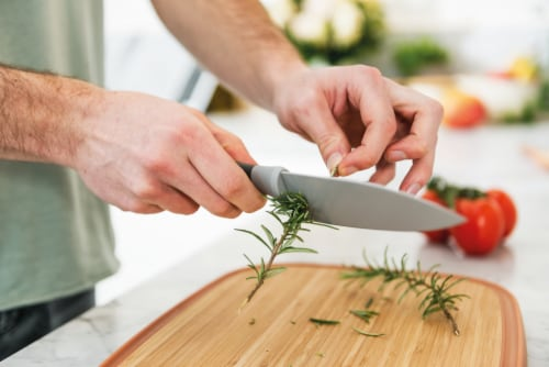 BergHOFF Leo Stainless Steel Chef Knife with Herb Stripper - Gray Perspective: back