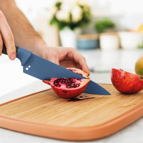 BergHOFF Leo Stainless Steel Chef Knife with Herb Stripper - Blue Perspective: back