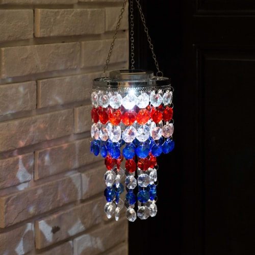 Glitzhome Patriotic Solar Lighted Hanging Decor Perspective: back
