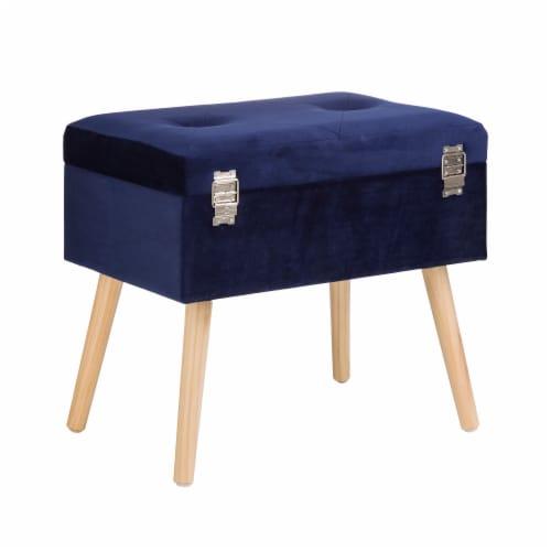Glitzhome Velvet & Wooden Upholstered Storage Stool - Navy Blue Perspective: back