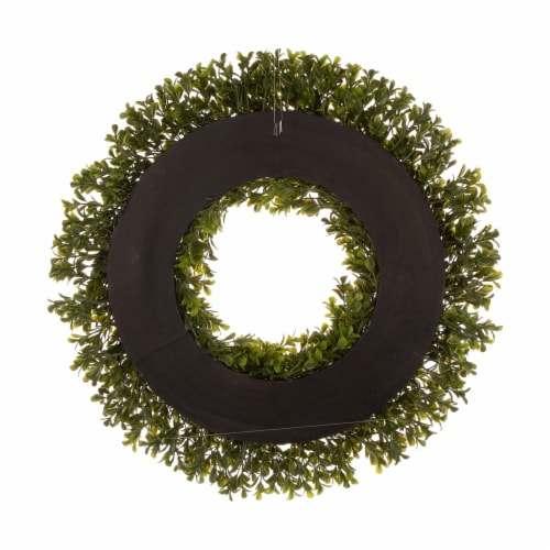 Glitzhome Spring and Summer Artificial Greenery Boxwood Wreath Perspective: back