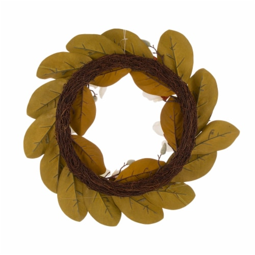 Glitzhome Spring and Summer Artificial Magnolia Wreath Perspective: back
