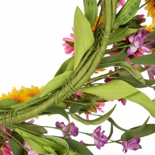 Glitzhome Chrysanthemum Wreath & Bamboo Tobacco Basket Decoration Perspective: back