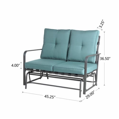 Glitzhome Outdoor Patio Garden Loveseat Glider Chair - Blue Perspective: back
