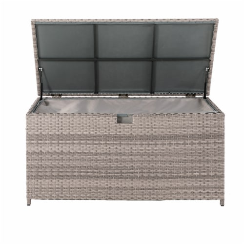Glitzhome Outdoor Patio Garden Wicker Storage Deck Box - Gray / Cream Perspective: back