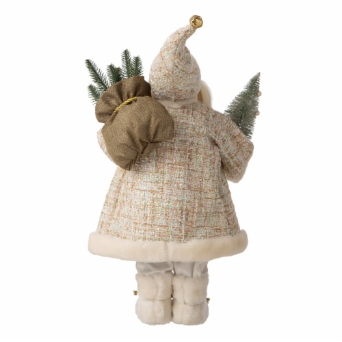 Glitzhome Christmas Santa Figurine - Gold/Silver Perspective: back