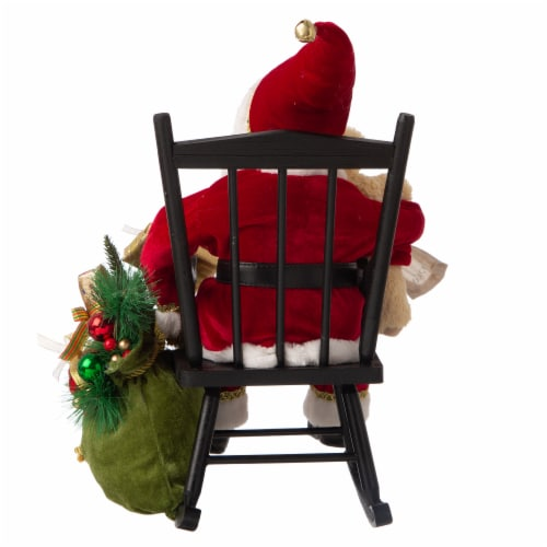 Glitzhome Christmas Sitting Santa Figurine with Wooden Rocking Chair Perspective: back