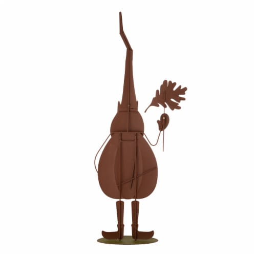 Glitzhome Metal Garden Gnome Yard Stake Decoration Perspective: back