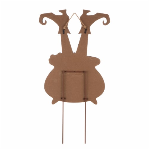 Glitzhome Halloween Wooden Witch Yard Stake Decor Perspective: back