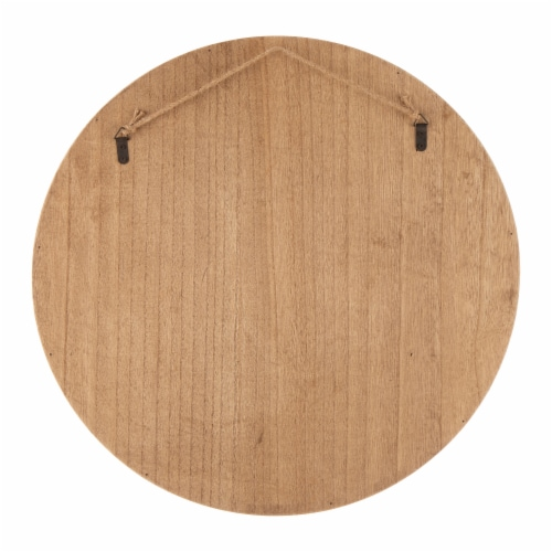 Glitzhome Wooden Fall Leaves Embelished Round Tray Hanging Decoration Perspective: back