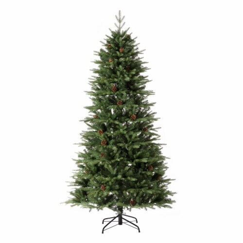 Glitzhome Artificial Fir Christmas Tree with Multicolor LED Lights - Green Perspective: back