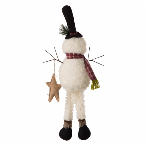 Glitzhome Fabric Christmas Snowman Shelf Sitter with Dangling Legs Perspective: back