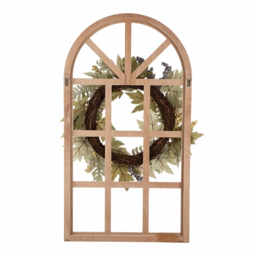 Glitzhome Wooden Fall Pumpkin and Pinecone Window Frame Wreath Perspective: back