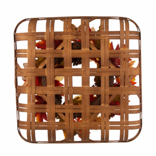 Glitzhome Blooming Magnolia Bamboo Tobacco Basket Wreath Perspective: back