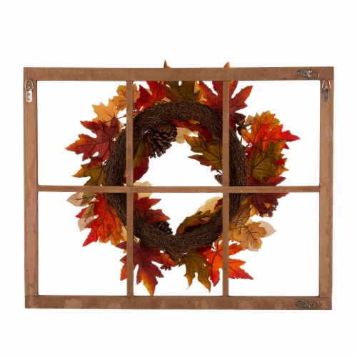 Glitzhome Blooming Magnolia Wooden Window Frame Wreath Perspective: back