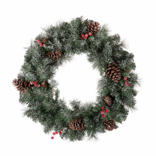 Glitzhome Glittered Pine Cone Christmas Wreath with Warm White LED Lights Perspective: back