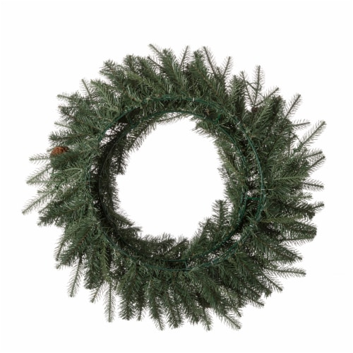 Glitzhome Pinecone Christmas Wreath with Warm White LED Lights Perspective: back