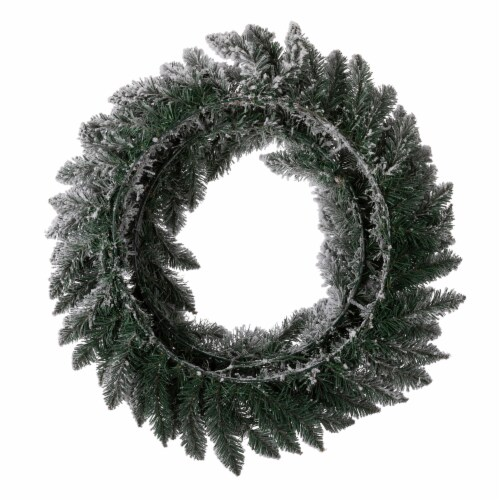 Glitzhome Pre-Lit Warm White LED Snow Flocked Christmas Wreath Perspective: back
