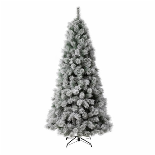 Glitzhome Snow Flocked Artificial Spruce Christmas Tree with Warm White Lights Perspective: back