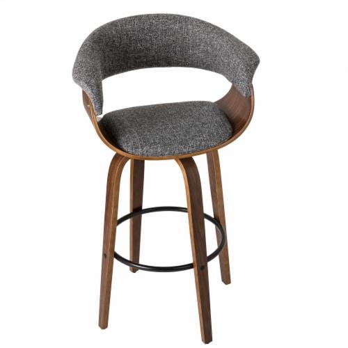 Glitzhome Mid-Century Modern Walnut Swivel Bar Stool Perspective: back