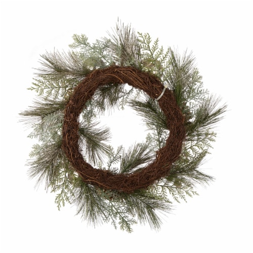 Glitzhome Pre-Lit Berry Holly & Pine Cone Silver Ornament Wreath Perspective: back