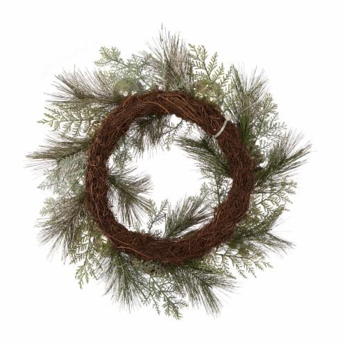 Glitzhome Pre-Lit Berry Holly & Pine Cone Silver Ornament Wreath Perspective: back