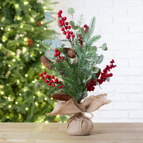 Glitzhome Christmas Floral Table Tree Decoration Perspective: back