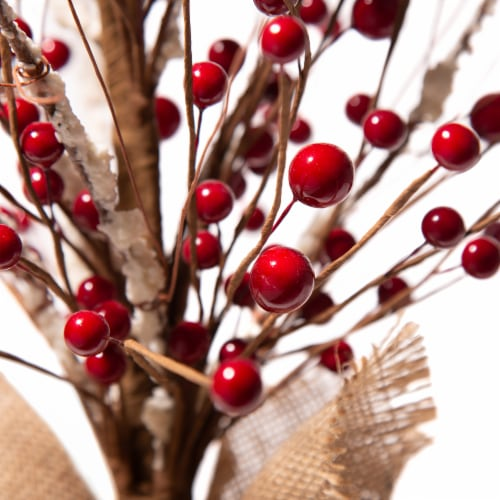 Glitzhome Rustic Christmas Berry Table Tree Decoration - Red Perspective: back