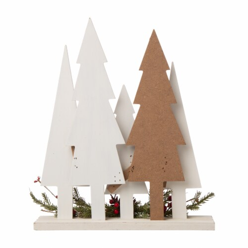 Glitzhome Plaid Wooden Christmas Tree with Pinecone Table Decoration Perspective: back