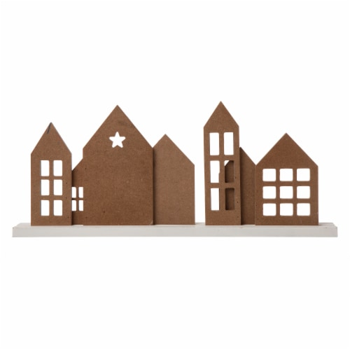 Glitzhome Metal & Wooden Christmas House Table Decoration Perspective: back