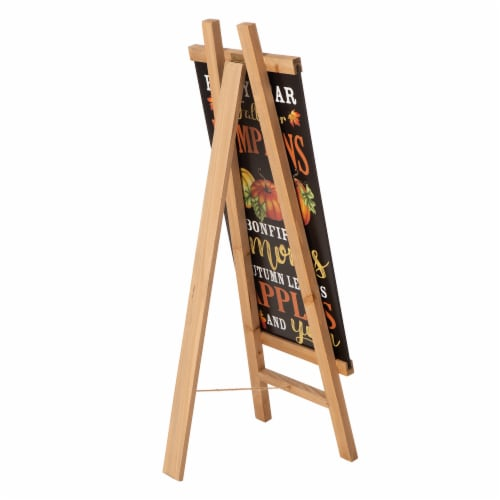Glitzhome Double Sided Wooden Easel Porch Sign Perspective: back