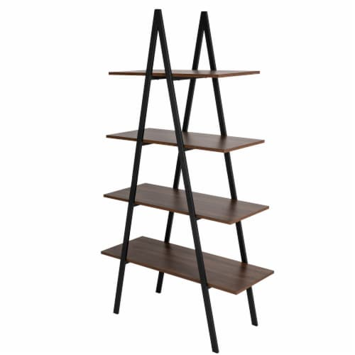 Glitzhome Metal & Wooden 4-Tier Bookcase and Ladder Shelves - Black / Walnut Perspective: back
