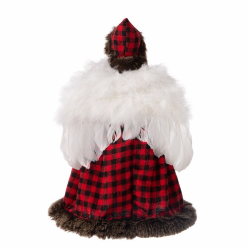Glitzhome Plaid Angel Tree Top Figurine Perspective: back
