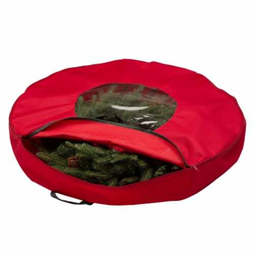 Glitzhome Canvas Christmas Wreath Storage Bag with Zipper - Red Perspective: back