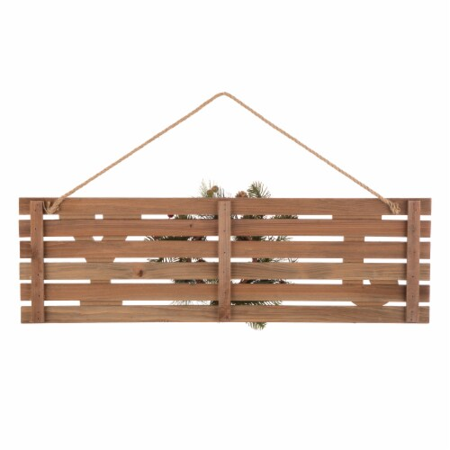 Glitzhome Joy & Berry Pine Wreath Wooden Wall Sign Perspective: back