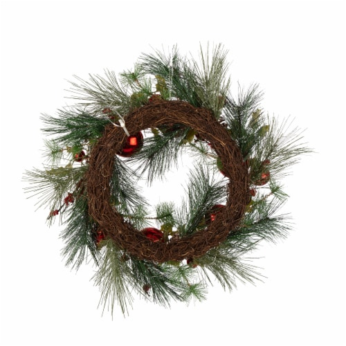Glitzhome Wooden Window Frame & Pre-Lit LED Pinecone & Ornament Wreath Perspective: back