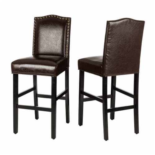 Glitzhome Bonded Leather High Back Studded Bar Chairs - Coffee Perspective: back