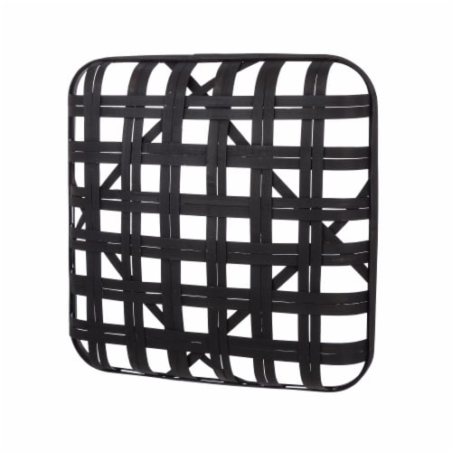 Glitzhome Vintage Square Bamboo Tobacco Basket Decoration - Black Perspective: back