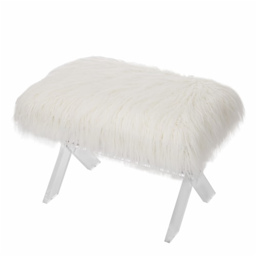 Glitzhome Faux Fur Upholstered Bench with Acrylic X-Leg - White / Clear Perspective: back