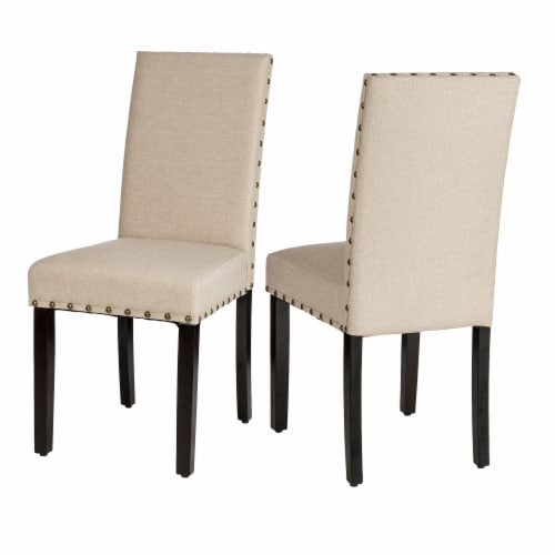 Glitzhome Cushioned Dining Chairs Pair - Cream Perspective: back