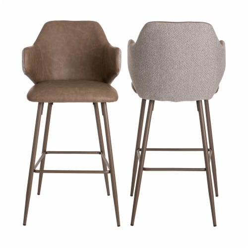 Glitzhome Leatherette & Fabric Bar Stools Pair - Dark Brown and Gray Perspective: back
