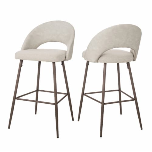 Glitzhome Fabric/Leatherette Bar Stools - Pale Gray Perspective: back