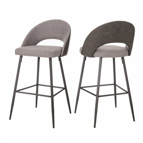 Glitzhome Fabic/Leatherette Bar Stool with Tapered Metal Legs - Dark Gray Perspective: back