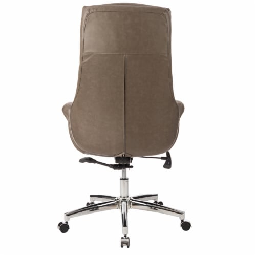Glitzhome Mid-Century Modern Leatherette Adjustable Swivel High Back Office Chair - Brownish Gray Perspective: back