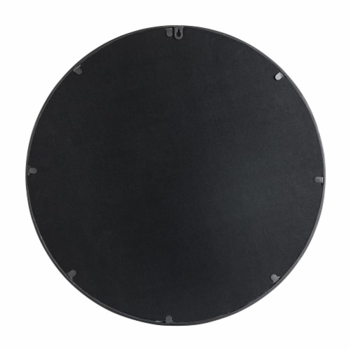 Glitzhome Medium Metal/Glass Round Classic Wall Mirror - Black Perspective: back