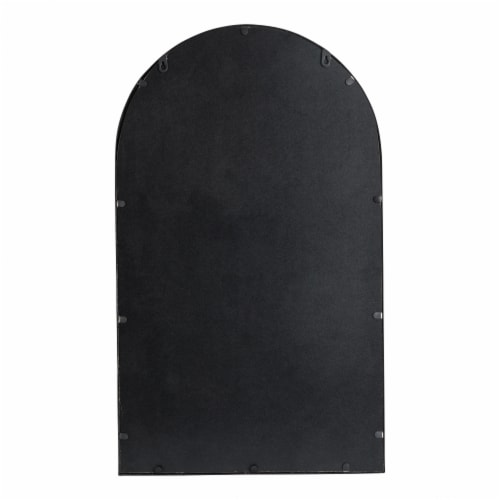 Glitzhome Oversized Metal/Glass Arched Wall Mirror - Black Perspective: back