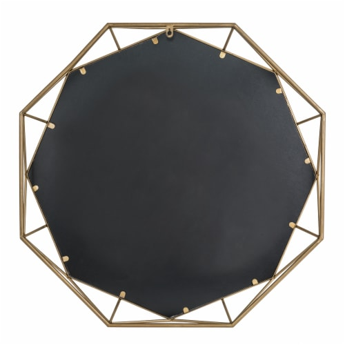 Glitzhome Deluxe Golden Octagonal Metal/Glass Wall Mirror Perspective: back