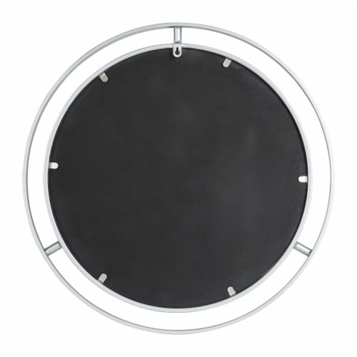 Glitzhome Modern Deluxe Round Metal Classic Wall Mirror - Silver Perspective: back