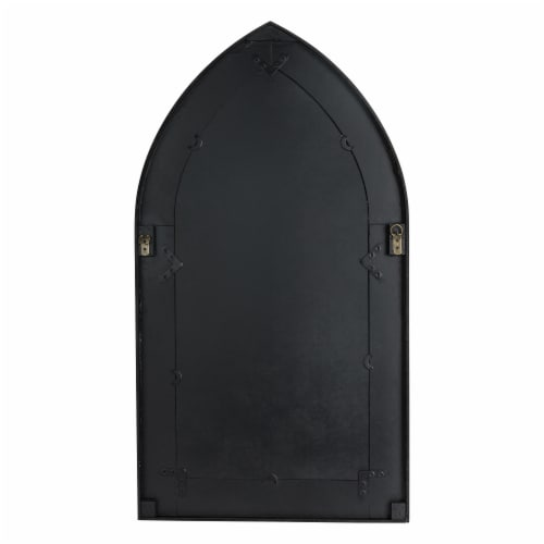 Glitzhome Wooden Cathedral Windowpane Wall Mirror Decor - Black Perspective: back